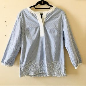 🌸3/40$ BR cotton shirt blue white embroidered